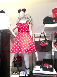 red polka dot dress at Disney Springs